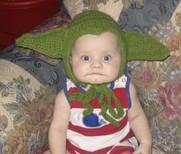 kid with crocheted yoda ears